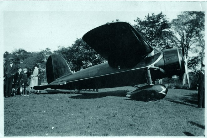 Earhart's Lockheed Vega on the landing site at Gallagher's Field, May 22nd, 1932.